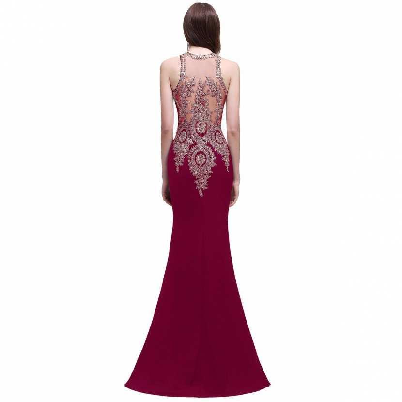 Robe de soirée longue pas chère avec broderie dos transparent