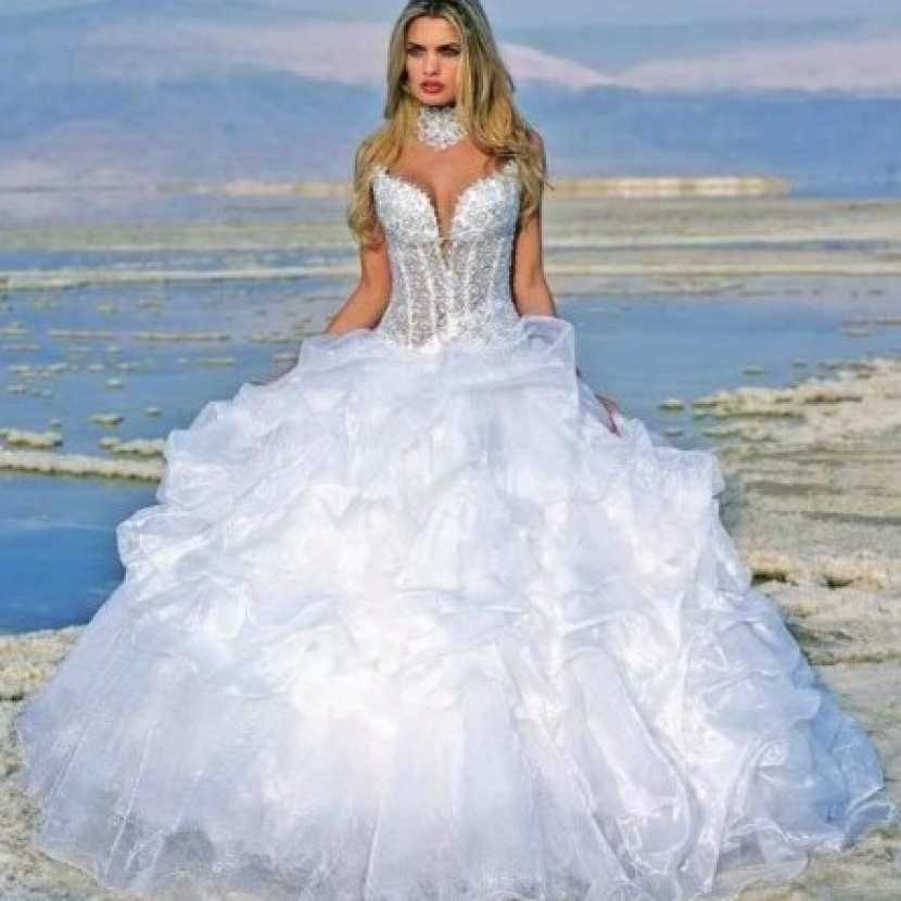 robe de mari e bouffante bustier semi transparent mariage pas cher. Black Bedroom Furniture Sets. Home Design Ideas