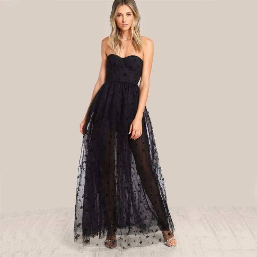 Robe pour les fetes de soirée pour mariage pas cher robe noir pas chère  bustier dos